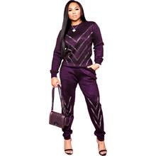 Зимние женские комплекты, спортивный костюм с круглым вырезом, полный рукав, хит продаж, топы, штаны, сексуальная одежда для ночного клуба, к...(Китай)