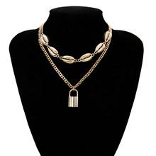 Многослойное колье-чокер Ingemark с замком для влюбленных, ожерелье в стиле стимпанк с навесным замком, колье с цепочкой в виде сердца, лучшие по...(Китай)