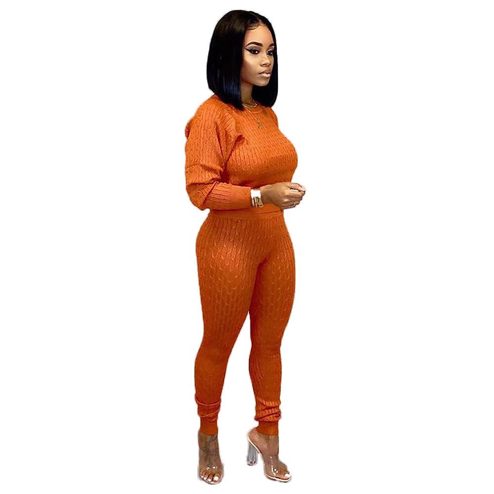 Свитер, трикотажный комплект из двух предметов, спортивный костюм для женщин, круглый вырез, длинный рукав, облегающий топ и штаны-карандаш ...(Китай)