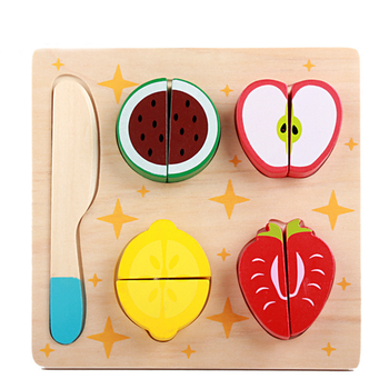 Children play mini wood food set Puzzle Pretend Play Cutting wooden Kitchen Toy for kids