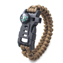 Berg camping survival multifunctionele <span class=keywords><strong>kompas</strong></span> <span class=keywords><strong>armband</strong></span> zeven kern paraplu touw weven Flint <span class=keywords><strong>armband</strong></span> groothandel