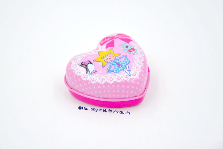 mini pocket small heart shape mint tin box
