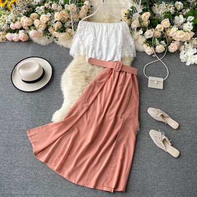 2020 Arrivals Ladies Suits <strong>Lace</strong> Blouse High Waist Skirt <strong>Women</strong> <strong>Clothing</strong> Two Piece Sets