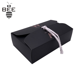 OEM Black color wig packaging box with ribbon hair paper box