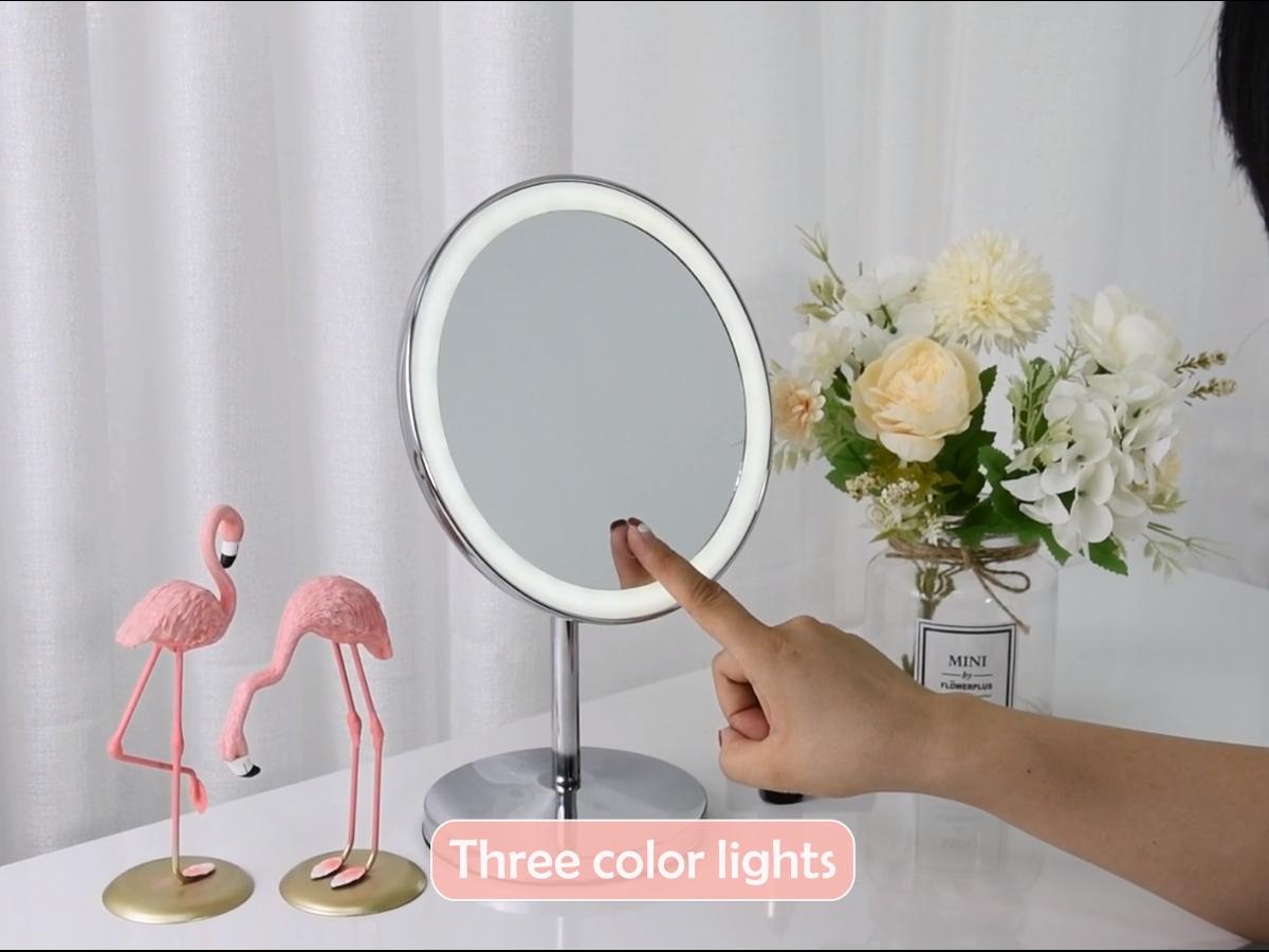 New Style 8 inch round metal frame desktip vanity makeup mirror wiht LED lights