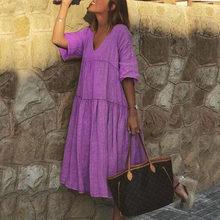 Женское винтажное платье трапециевидной формы с цветочным принтом, летние вечерние платья до колена с v-образным вырезом и рукавом до локтя,...(Китай)