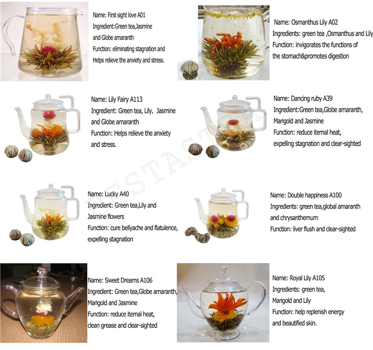 Hot Popular Handmade Flower Tea Scented Jasmine Blossom Green Tea Ball Flowers Blooming Tea - 4uTea | 4uTea.com