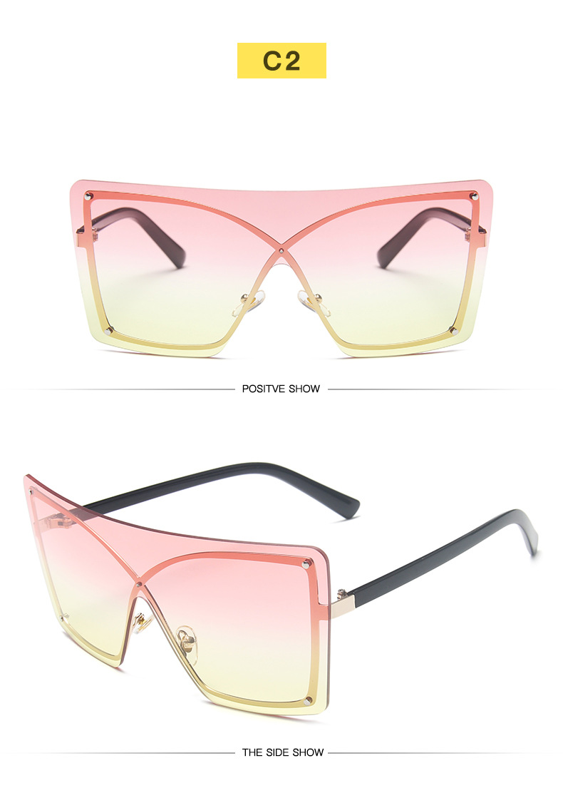 New Arrivals 2020 Vintage Ladies Women Colorful Rimless Sunglasses Big Frame One Piece Lens Sunglasses