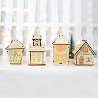 Wholesale Christmas Light Small Wooden House Pendant Christmas Decorations