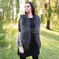 CX-G-B-160G Fur Gilet Genuine Mongolian Lamb Fur Fashion Women's Waistcoat/ Vest
