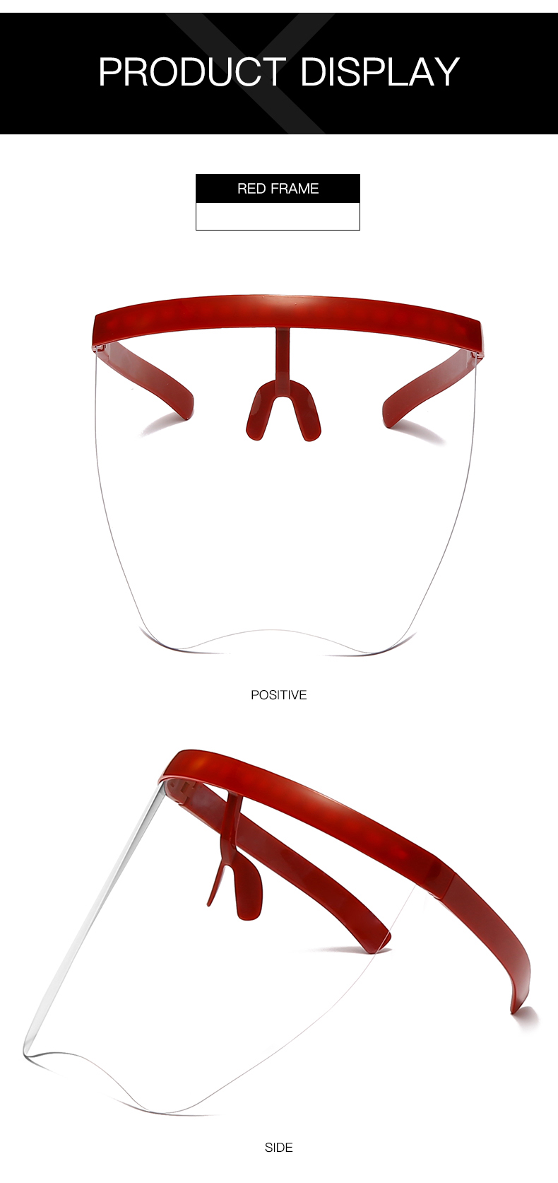 Big  size  can covered full face   one piece lens  windproof  oversized visor  sunglasses