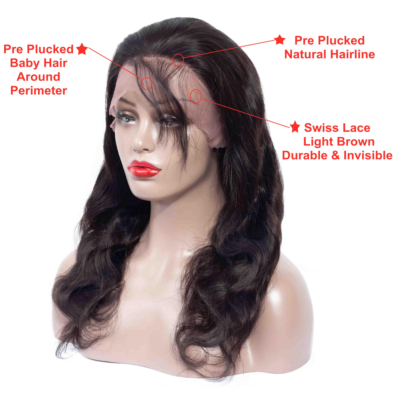 Drop Shipping ธรรมชาติบราซิล Body WAVE Virgin ผมขายส่งผมลูกไม้ 360 Wigs