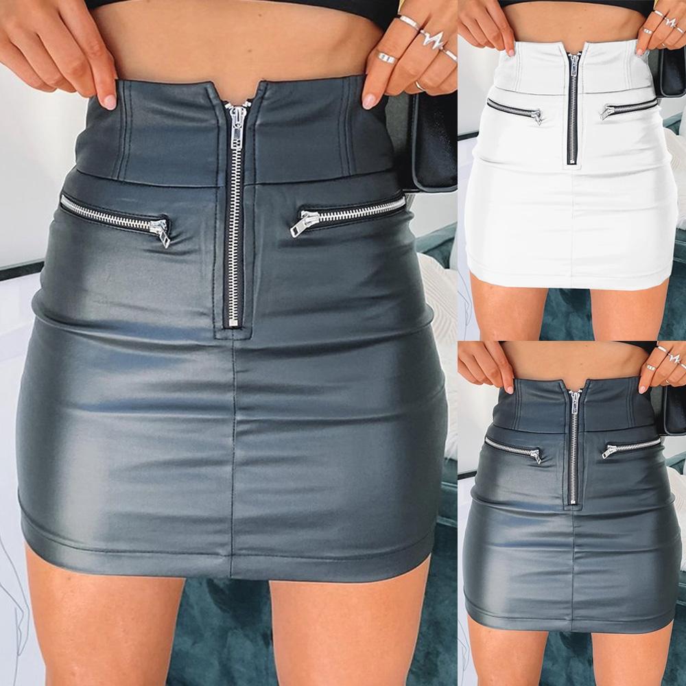 INVOLAND Womens Stretch Denim Mini Skirt High Waisted Retro Jeans Skirt Short Skirt