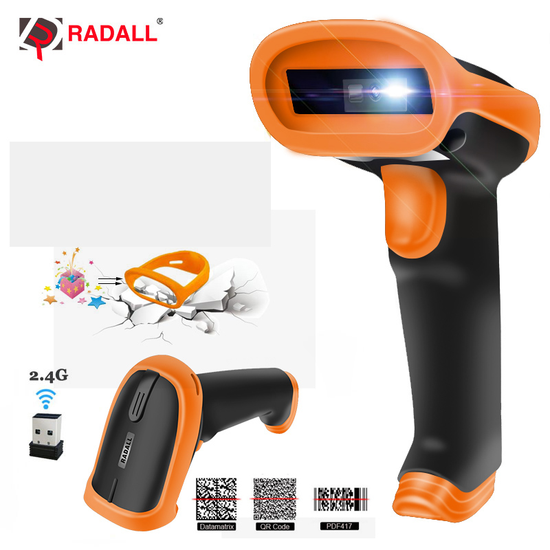 RADALL Automatische Scan Handheld 1D/2D QR Code Reader Wireless Barcode Scanner Wired bar code Scanner