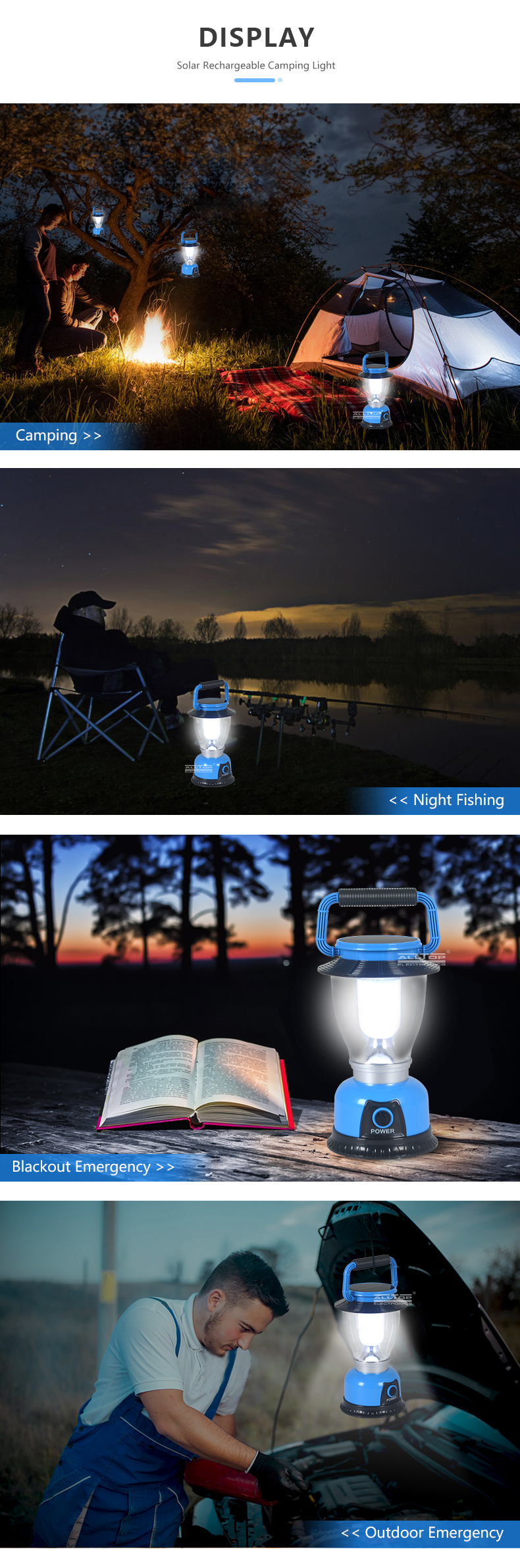ALLTOP Camping Light Defensa Personal Led Lantern Portable Led Solar Energy System Camping Light