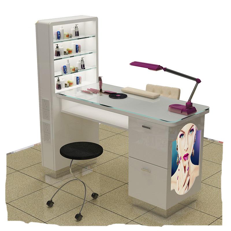 現代ネイルステーション家具マニキュアテーブルと白ネイルサロンテーブルデスク