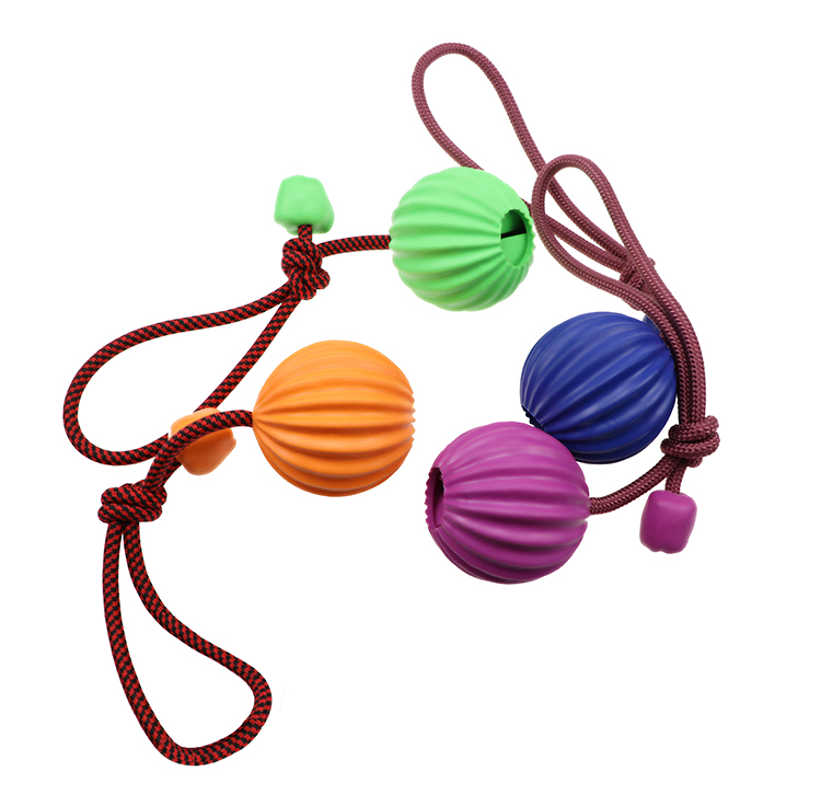 Towline dog toys with ropes and rubber balls chewing interactive dog toys