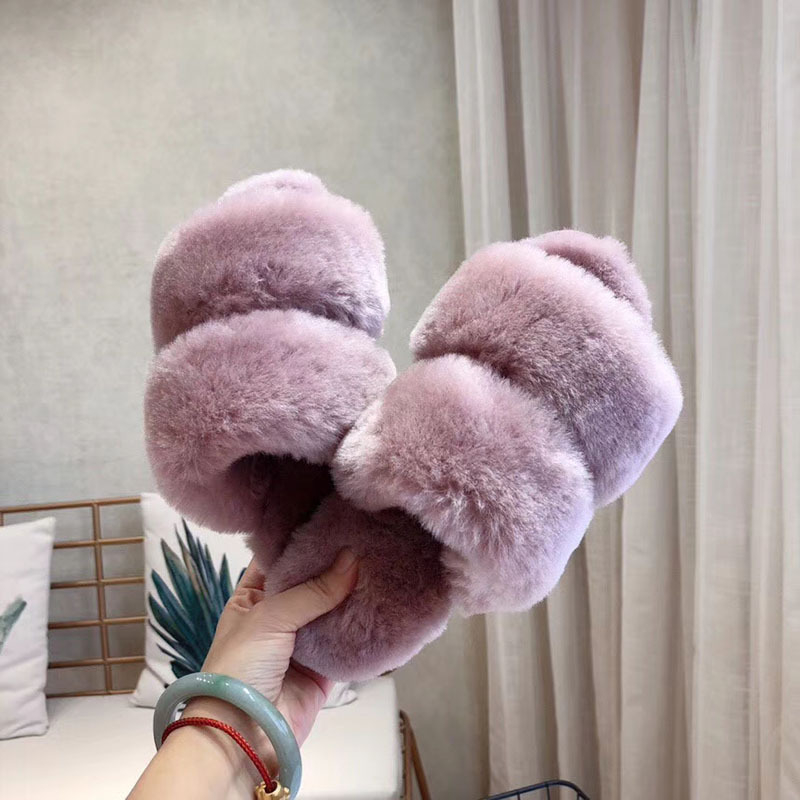 Women Winter Snow Warm Sheepskin Fur Slides House Shoes Open Toe Colorful Soft Fur Custom Sheepskin Slippers