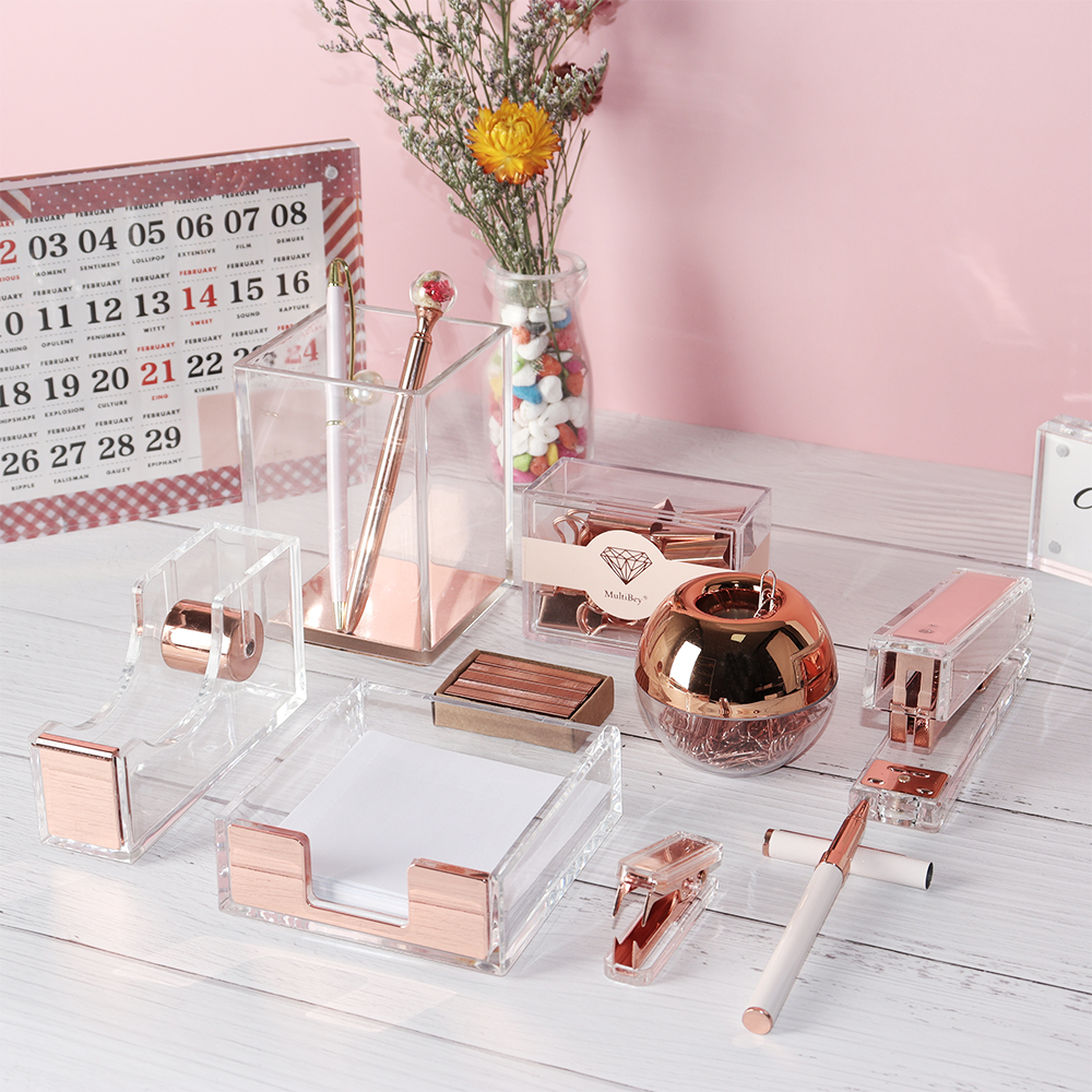 Glam Home Office Desk Organizer Set Acrylic Office Accessories