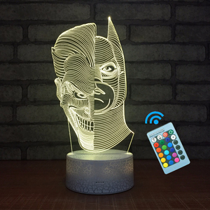 Led Lamp Stand 10 Led Super Bright, Remote Control Baby Room Two-Half Face 3D Illusion Night Light