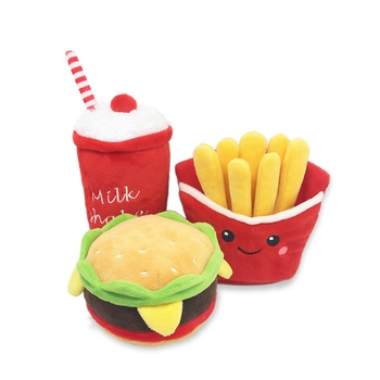 Funny Toys Set Plush Dog Toys Chew Squeaky Hamburger Chips Cola Toy