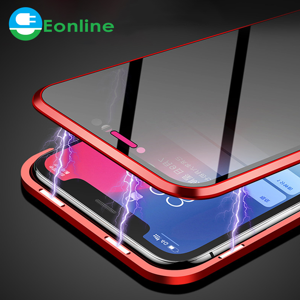 <strong>HOT</strong> For iPhone 6 6s 8 7 X Double Sided Glass Magnet Cover For iPhone X XS MAX XR C Anti peeping Metal Magnetic Phone Case