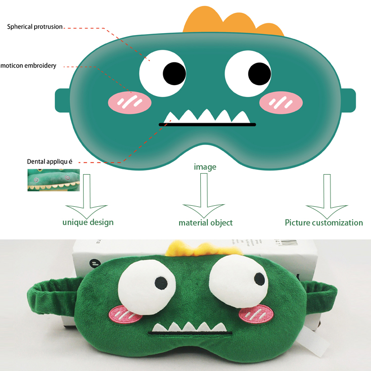 Custom Child Cartoon Design Sleep OEM Plush Eye Mask