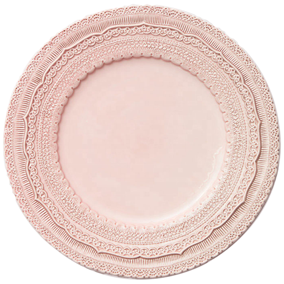 Wholesale Elegent 13&quot; Pink Lace Embossed Wedding Event Charger <strong>Plates</strong>