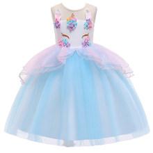 Длинное платье с цветочным узором для девочек; Свадебное платье с единорогом и радугой; Вечерние платья для девочек на день рождения с едино...(Китай)