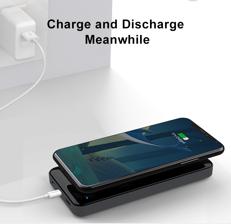 10000mAh Qi Power Bank Wireless Fast Charging Portable External Power Bank