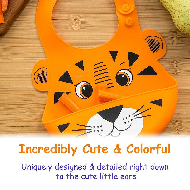 New style food grade cartoon pattern silicone baby bib