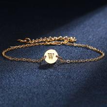 24 буквы начальный браслет с дисками индивидуальный Золотой A to Z персонализированный браслет дружбы персонализированный для женщин ювелирн...(Китай)