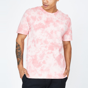 summer casual man pink tie dye o neck t shirt