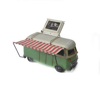 Iron Bus Photo Frame Ornaments Antique Craft Tram Custom Pen Holder Table Home Decoration Accessories Room Gifts With Coin Bank