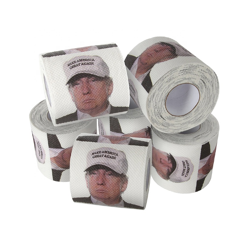 Custom design popular funny joke political gift Donald Trump pattern white virgin soft toilet tissue paper roll factory sale