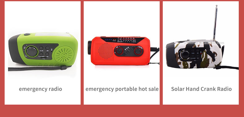 FM/AM/NOAA Weather Portable Radio with Emergency Solar Crank 2000mAh Power Bank LED Flashlight for Outdoor Camping