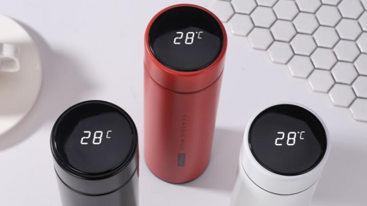 500 مللي LED الذكية فراغ كأس معزول الفولاذ المقاوم للصدأ الذكية الترمس قارورة زجاجة ماء الصمام عرض درجة الحرارة
