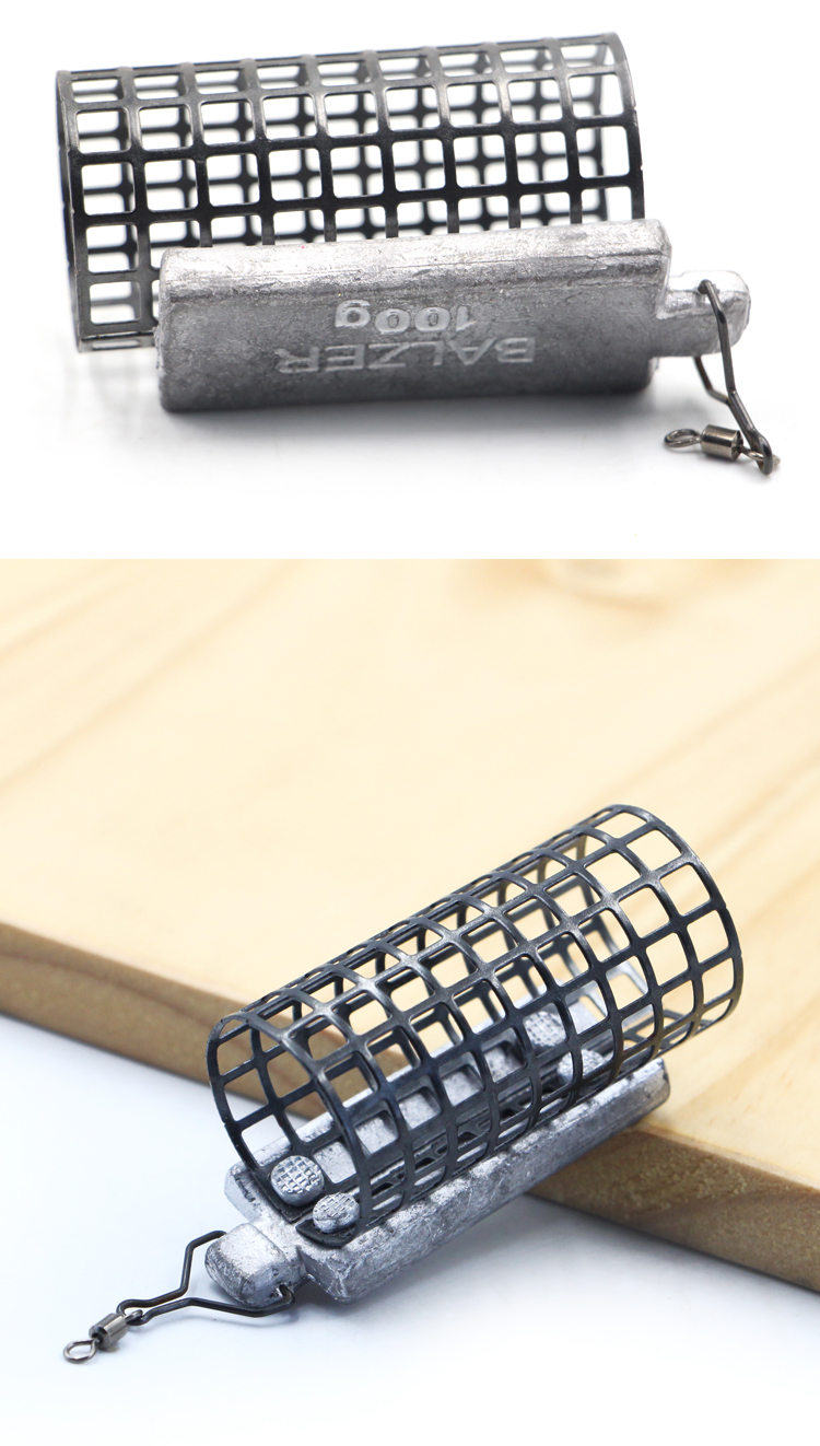 China supply stocked river feeder mesh fishing cage feeder s With Lead Sinker 28*56mm 30g 40g 50g 60g 80g 100g 120g 140g