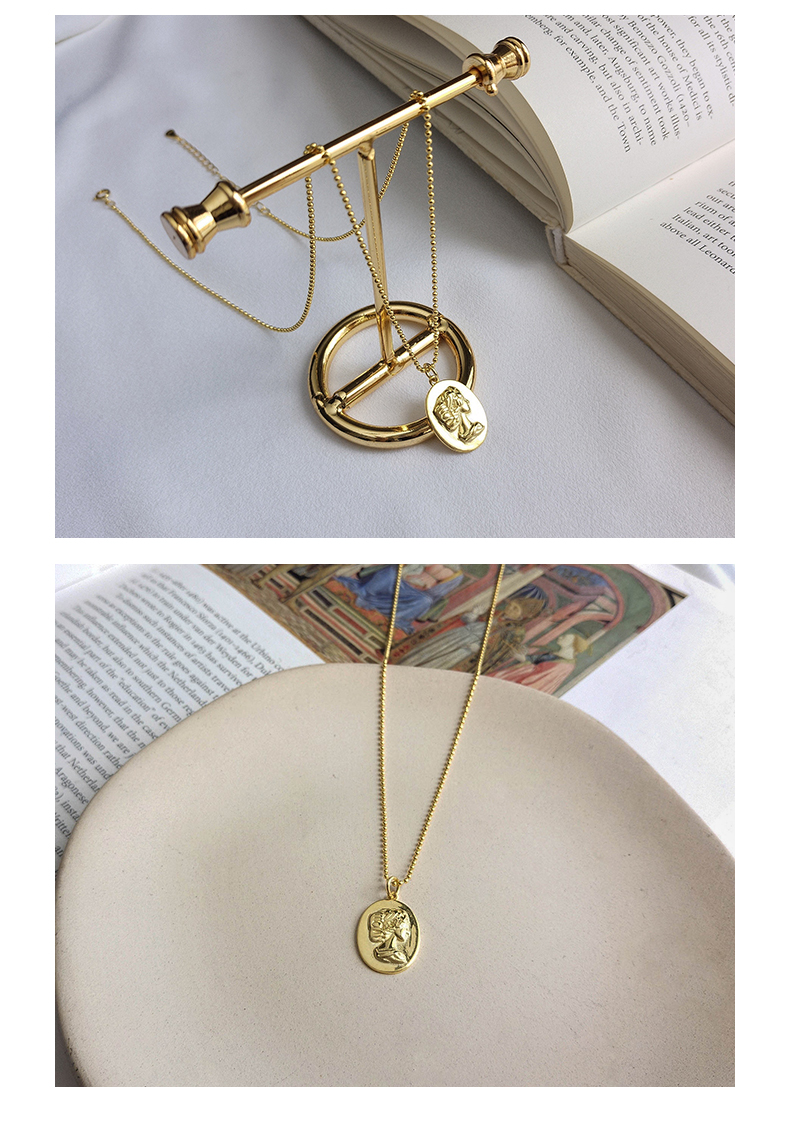 INS tendencia de la joyería de las Mujeres 18K chapado en oro relieve retrato de mujer pedante Collar de plata de ley 925