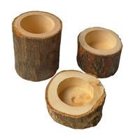 H451 Multi Function Creative Rustic Tree Stump Flowerpot Wooden Handmade Craft Gift Natural Wood Candle Holder