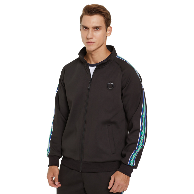 newest Hot selling 100% polyester mens casual sweatsuit tracksuits for men with stripe