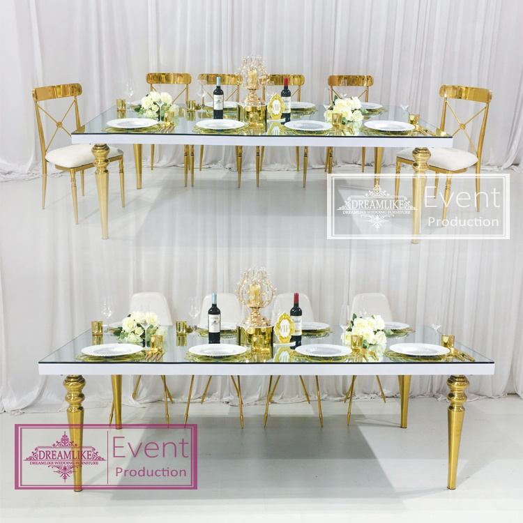 2021 new design mirror glass top stainless steel frame dining table sets