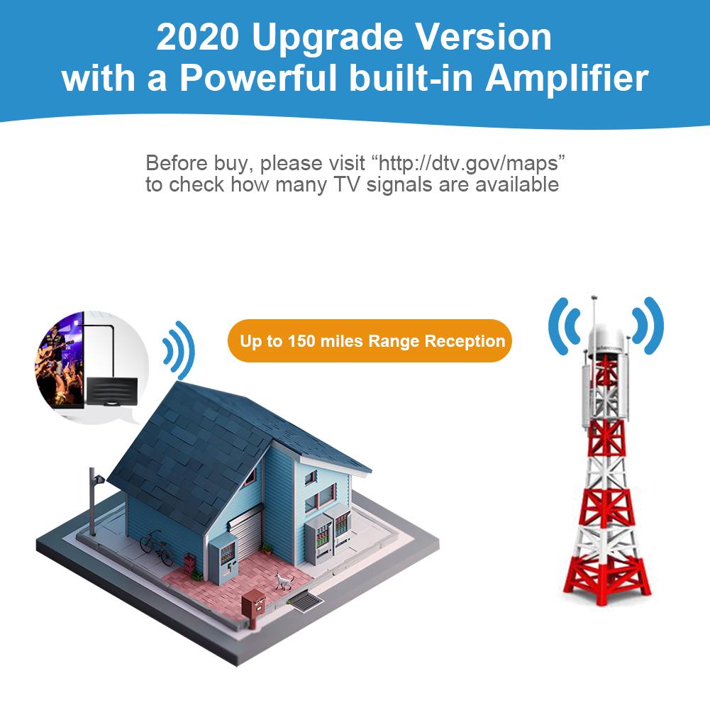 150 קילומטרים טווח חיצוני מוגבר ממונע טלוויזיה אנטנה עמיד למים 4K 1080p 720p הדיגיטלי HDTV אנטנה