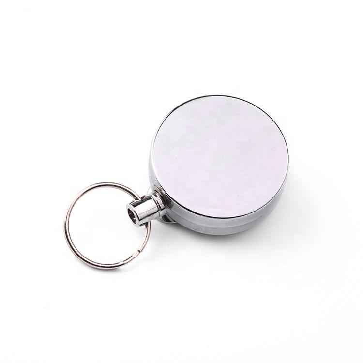 YoYo ID Card Badge Holder Custom Steel Badge Reel Retractable Matel ID Badge Holder With Keyring