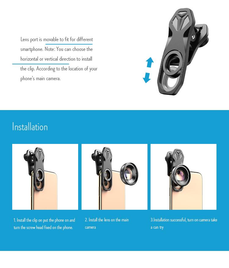 Universal Clip on 4k HD Professional 30-80mm Macro Lens Mobile Macro Camera Lens for iPhone