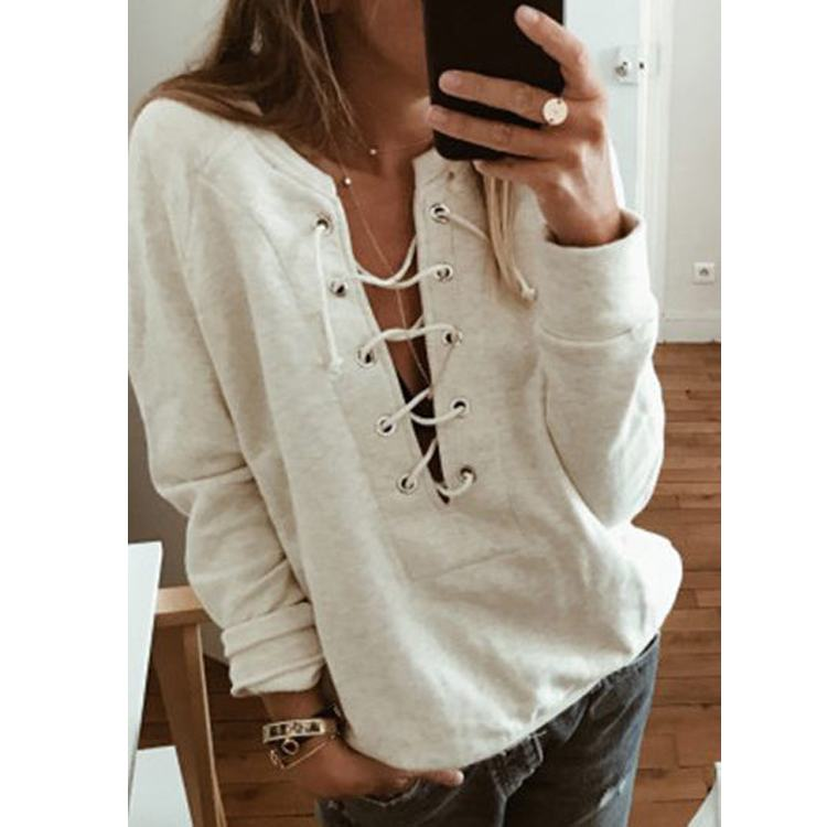 2019 Plus Size Clothing Sexy Lace-Up Top With Sleeves Women Blouse And Shirts