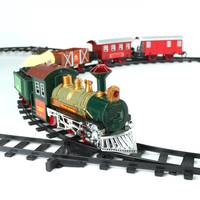 Kids christmas diy play set train track toy with music and light
