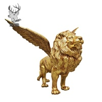 Custom hight quality brass lion with wings statue bronze winged lion