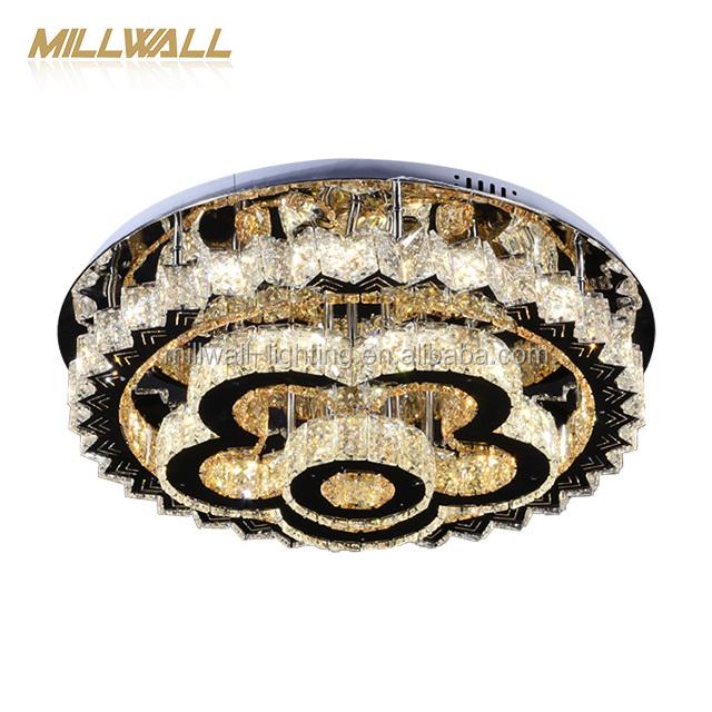 Модные Смарт Крытый акриловое волокно, с декором из кристаллов; Круглый светодиодный потолочный светильник для гостиной