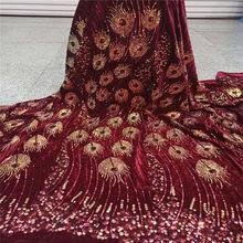 Красный 5 ярдов мягкий ручной работы элегантный Африканский французский бархат кружево ткань блестящая Свадьба Нигерия Гана праздничное п...(Китай)